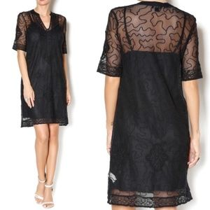 LUCKY BRAND Embroidered Lace Sheer Dress S